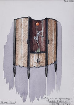 Design for Walnut Curio Cabinet. 1930s for George M Hammer designers London