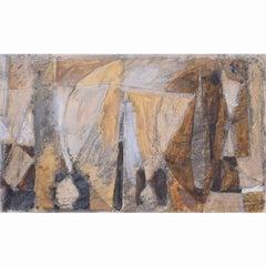 Clifford Ellis Sailing Boats in Ochre Mid Century Modern painting
