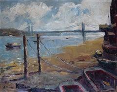 Angela Stones Chelsea Bridge Oil Painting Mid 20th Century Modern British Art