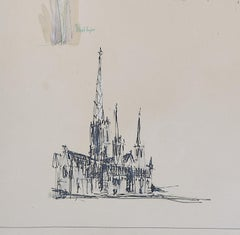 Louis Osman FRIBA Lincoln Cathedral architectural ink sketches 1960 Bishop Choir
