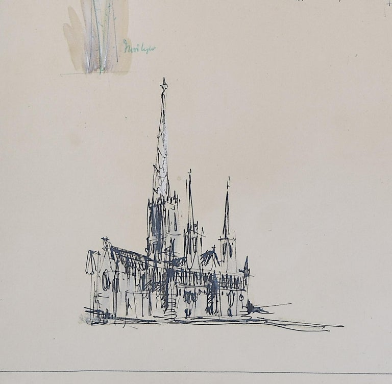 Louis Osman FRIBA Lincoln Cathedral architectural ink sketches 1960 Bishop Choir 1