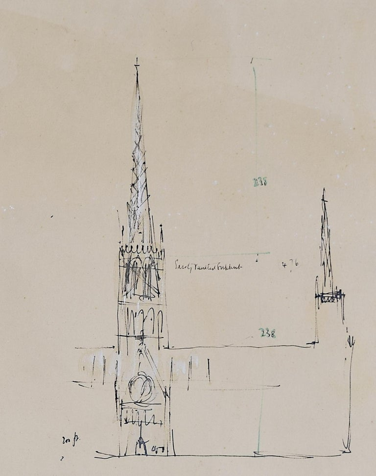 Louis Osman FRIBA Lincoln Cathedral architectural ink sketches 1960 Bishop Choir 4