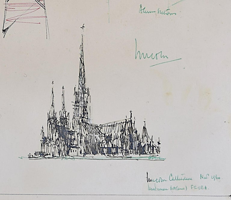 Louis Osman FRIBA Lincoln Cathedral architectural ink sketches 1960 Bishop Choir 3
