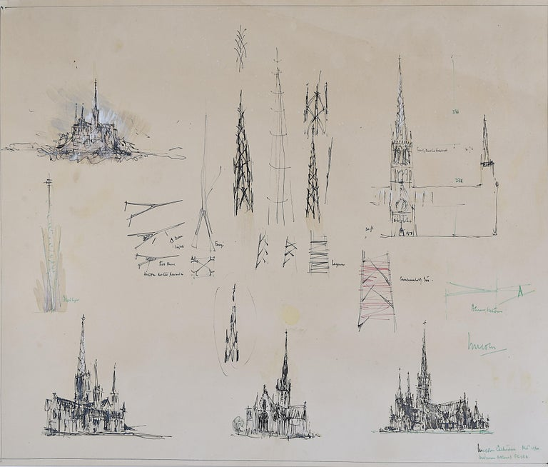 Louis Osman FRIBA Lincoln Cathedral architectural ink sketches 1960 Bishop Choir 2