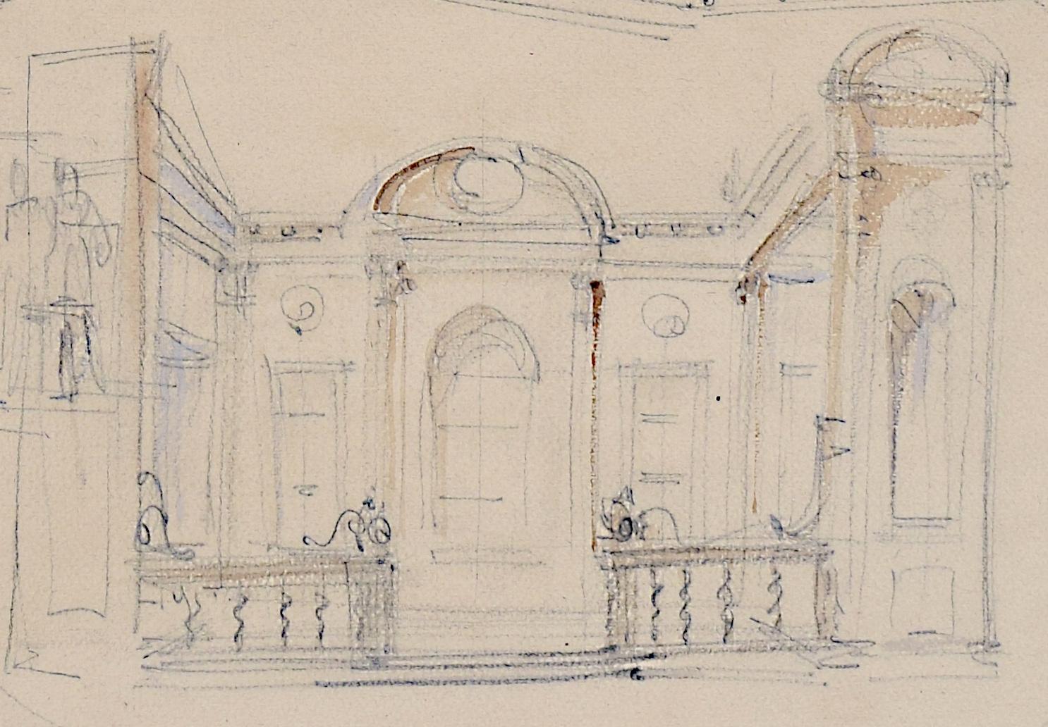 Louis Osman FRIBA Thomas Lumley Castle architectural sketches c. 1960s