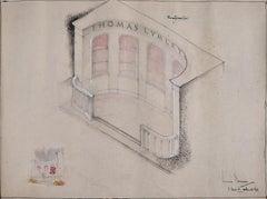Louis Osman FRIBA Thomas Lumley Castle architectural sketch c. 1960s