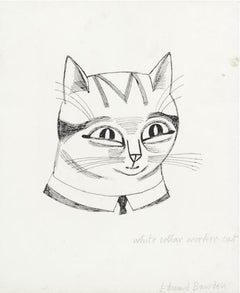 Edward Bawden drawing 'White Collar Worker Cat' pen and ink Modern British Art
