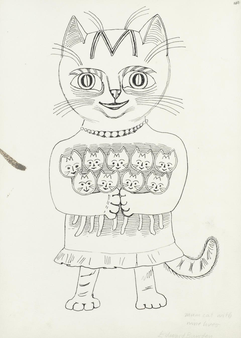 Edward Bawden drawing 'Mum Cat with Nine Lives' pen and ink Modern British Art