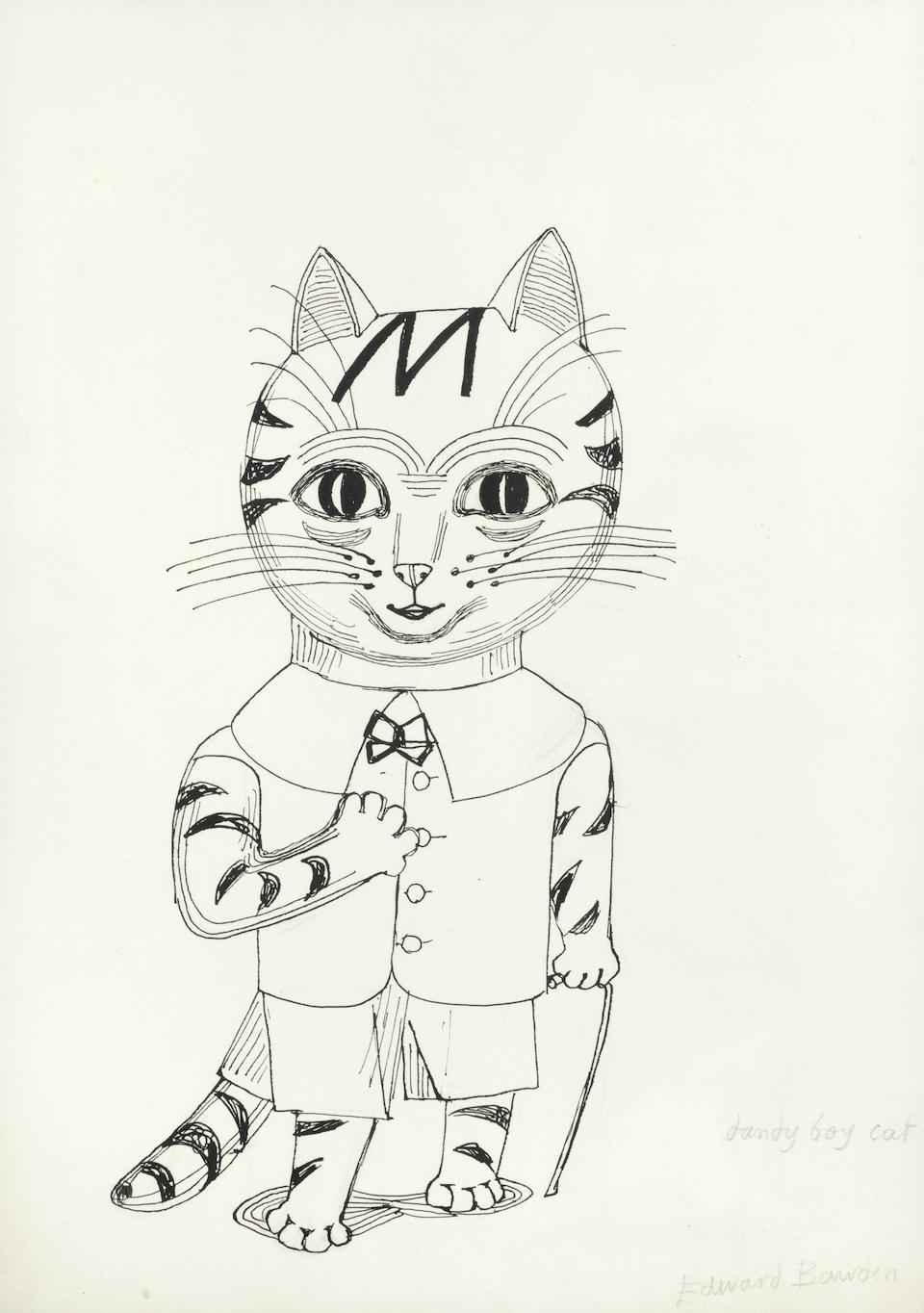 Edward Bawden drawing 'Dandy Boy Cat' pen and ink Modern British Art kitten
