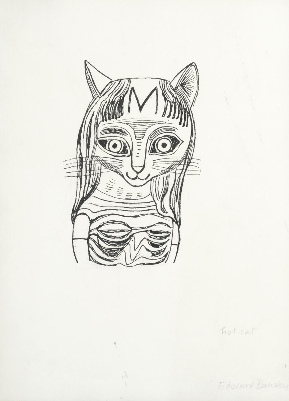 Edward Bawden drawing 'Hot Cat' pen and ink Modern British Art kitten