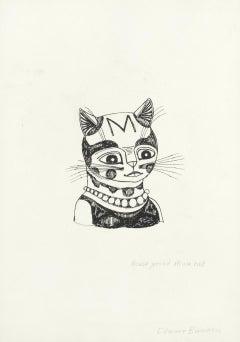 Edward Bawden ink drawing 'House Proud Mum Cat' Modern British Art kitten