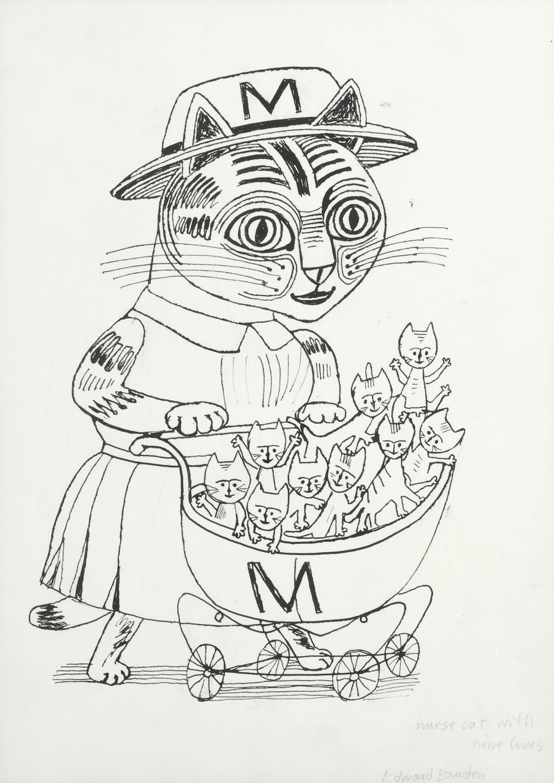 Edward Bawden ink drawing 'Nurse Cat with Nine Lives' Modern British Art kittens