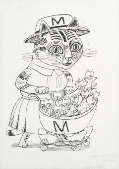 Edward Bawden ink drawing 'Nurse Cat with Nine Lives' Modern British Art kittens