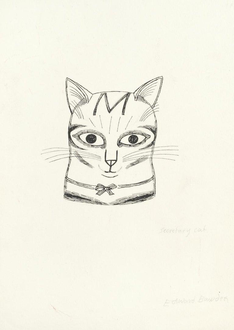 Edward Bawden drawing 'Secretary Cat' Pen and Ink Modern British Art kitten - White Animal Art by Edward Bawden
