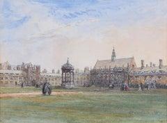 John Fulleylove Trinity College Great Court, Cambridge 1890 watercolour