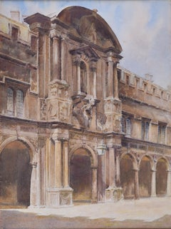 John Fulleylove attrib. St John's College Canterbury Quad Oxford watercolour