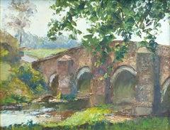 Piero Sansalvadore Chithurst Bridge Sussex oil painting mid century modern art