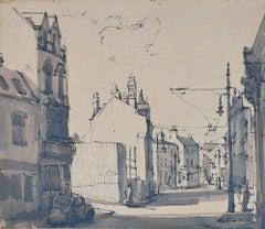 Peter Collins ARCA London Scene with Tram sketch c. 1950s