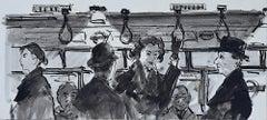 Peter Collins ARCA Strap Hangers on London Underground sketch c. 1950s