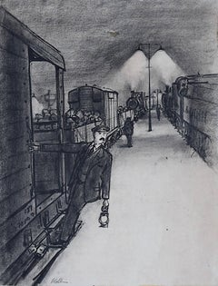 Peter Collins ARCA The Railway Station Platform with Steam Trains Engines c1950s
