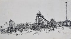 Peter Collins ARCA Colliery Mining Scene pen and ink factory England sketch