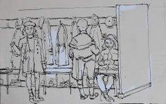 Peter Collins ARCA School Children in a Cloakroom sketch c. 1950s