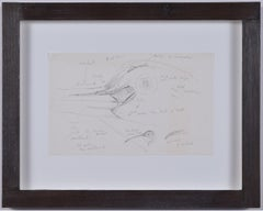 Clifford Ellis Curlew pencil sketch Mid Century Modern British Art Wildlife