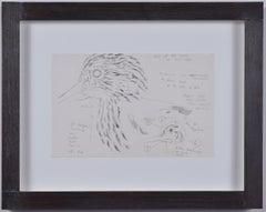 Clifford Ellis Curlew II pencil sketch Mid Century Modern British Art Wildlife