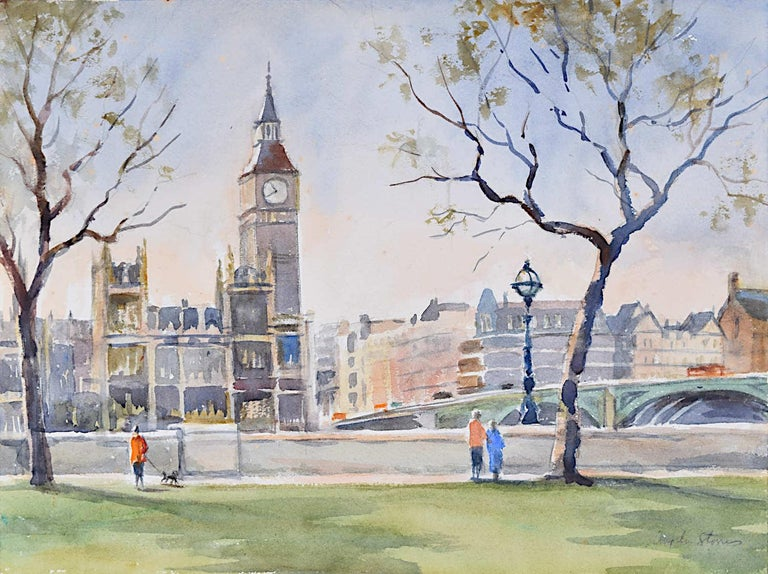 Westminster Bridge and Houses of Parliament, London watercolour Angela Stones - Art by Angela Stones