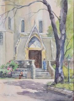 Holy Trinity Church Brompton London watercolour Angela Stones Wedding Present