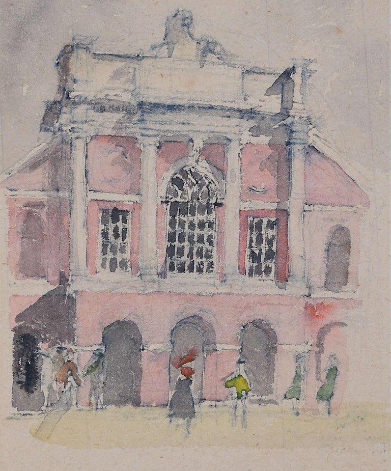Prof Sir Albert Richardson PRA Architect A Classical Building with Elegant Figs. - Art by Albert Richardson