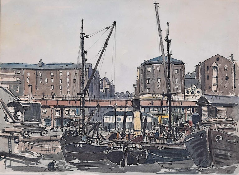 """We acquired a series of paintings from Claude Muncaster's studio. To find more scroll down to """"More from this Seller"""" and below it click on """"See all from this seller.""""   Claude Muncaster (1903-1974) Liverpool Docks Dated 1928 Inscribed to"""