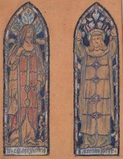 Reginald Hallward: Church Stained Glass Windows Design Good Shepherd/Door