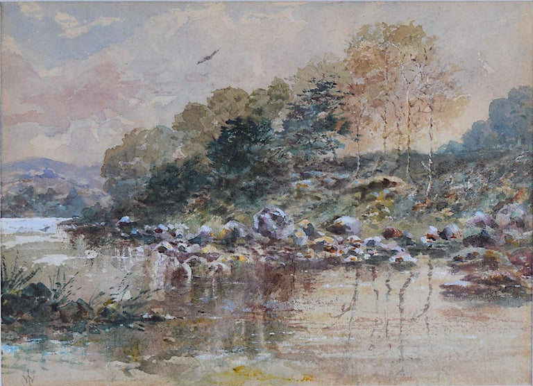 The River Scene William Logsdail English watercolour 20th Century British Art - Gray Landscape Art by William Logsdail