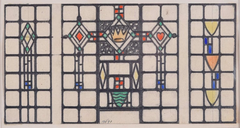 Stained Glass Window Domestic Design Florence Camm Arts & Crafts TW Camm Crown  - Beige Interior Art by Florence Camm