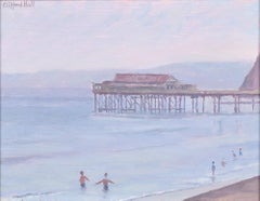Clifford Hall The Pier and Beach oil painting Modern British Art seaside