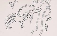 Clifford Ellis Great Crested Newt pencil sketch Mid Century Modern British Art