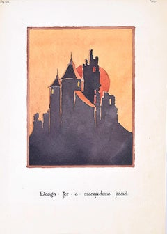 Design for Art Deco Castle Marquetry Panel 1927 for Furniture Hammer London