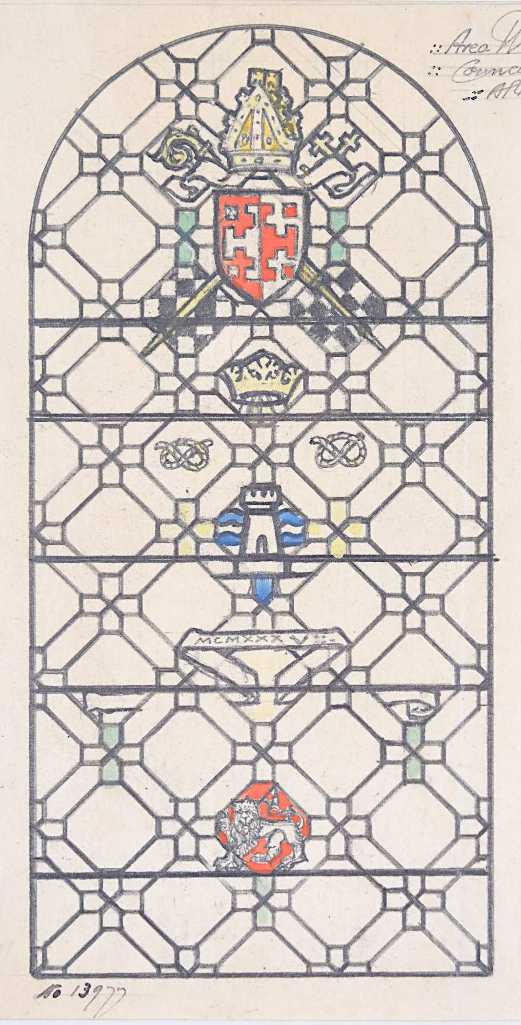 Stained Glass Window Design Council Chamber Florence Camm Arts & Crafts TW