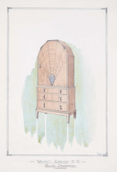 Design for Walnut Cabinet with Silver Decoration 1930 for George M Hammer London