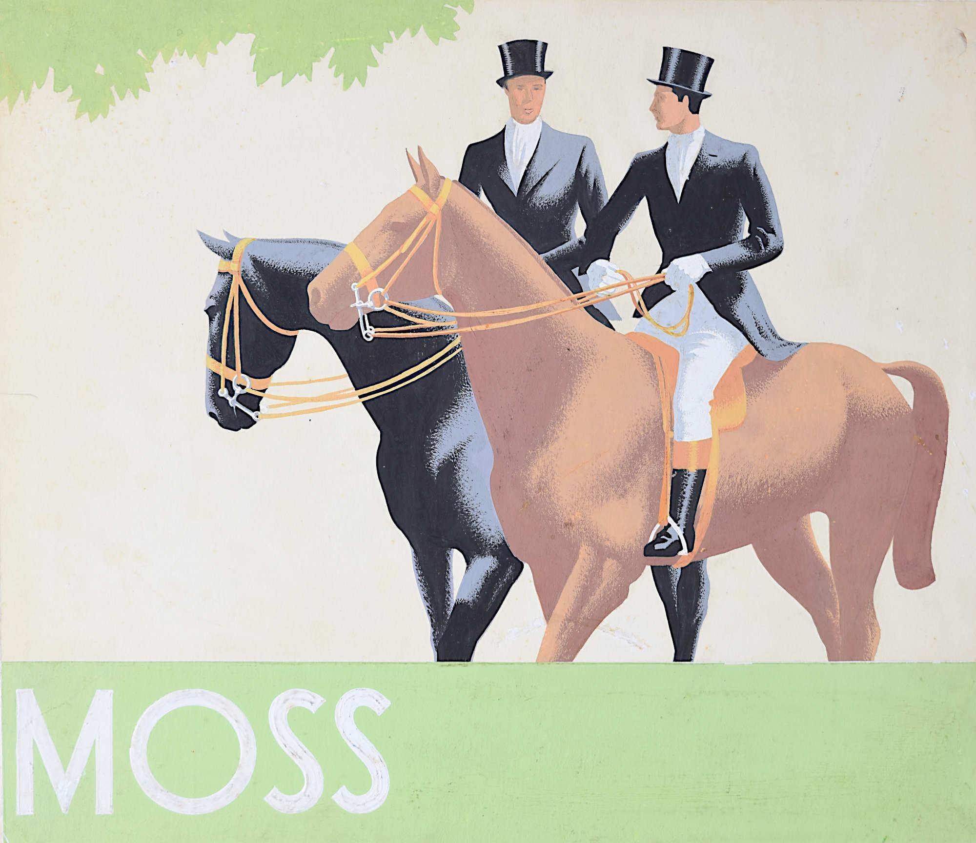 1930s Original Gouache Design for Moss Bros Horses Riding Formal Outfit