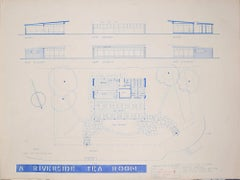 Design for Modernist Riverside Tearoom architectural drawing Mid Century Modern