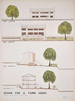 Design for Modernist Town House architectural drawing Mid Century Modern UK