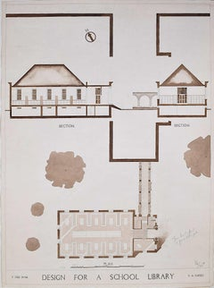 Design for Modernist School Library architectural drawing Mid Century Modern UK
