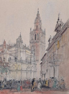 Prof Sir Albert Richardson PRA Architect The Giralda Seville watercolour