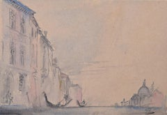 Prof Sir Albert Richardson PRA Architect Venice watercolour painting art Canal