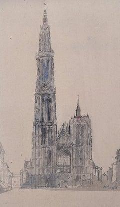 Prof Sir Albert Richardson PRA Architect Antwerp Cathedral watercolour painting