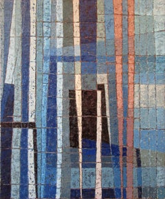 Miles Cole Intersections Oil Painting 2020 Blue Abstract Modern British Art