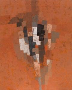 Miles Cole Orange Zawn Oil Painting 2020 Grey Abstract Modern British Art