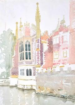 St John's College Cambridge University River Cam Watercolour J V C Anthony